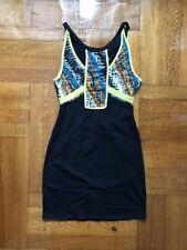 Urban Outfitters Women's Bodycon Black&Neon Print Detail Dress Sparkle & Fade, M