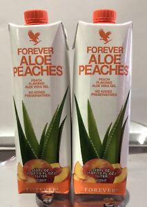 2 Pack Piezas  Forever Living Aloe Vera Gel Bits N Peaches 1 Liter FREE SHIPPING