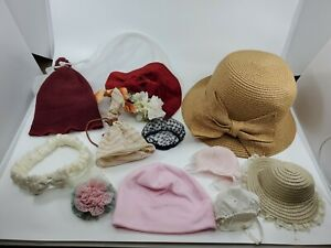 Box lot Of Vintage Hats For Antique Dolls 10 different kinds and sizes