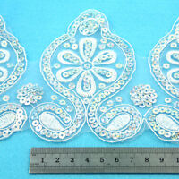 1 METRE WHITE HOLOGRAPHIC LACE TRIM 120mm WEDDING DRESS TRIMMING SEWING HL2188