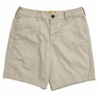 Hollister Mens Flat Front Shorts Seagull Logo Khaki 32 Casual Bottoms New Hco