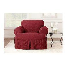 Matelasse Damask One Piece T cushion Chair Slipcover Chili