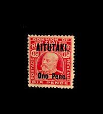 Aitutaki Cook Islands SG 11 KGV 6d Carmine 1916 Ltly Hinged