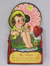 Vintage Valentine Mechanical Boy Fishing Lucky Big Daisy Wheel Yes No