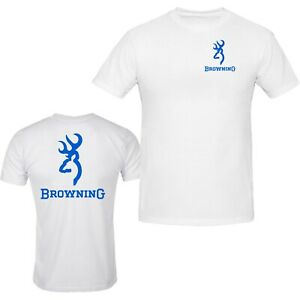 Browning Pocket Design White Tee Front & Back S - 5XL T-Shirt Tee