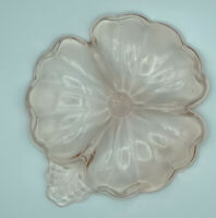 Vintage Pink Flower Depression Glass Divided Candy Dish Nut Bowl Relish Plate