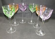 "6 Moser Glass ""Lady Hamilton"" Crystal Wine Glasses Multi-color 7-3/4"" Long Stem"