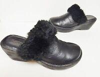 Born Women's Leather Wedge Mules Clogs Shoes Slip On Faux Fur Black Size 7 (?)