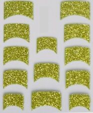 Nail Art 3D Decal Stickers Green Glitter Nail Tips