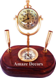 Nautical Brass Table Top Clock with Pen Holder on Wooden Base Home/Office Item