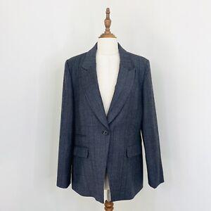 Saba Womens Blazer Plaid Check Wool Blend Grey Work Business Size 14