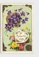 ANTIQUE POSTCARD VALENTINE FORGET ME NOT HEART ROSES ART NOUVEAU BORDER EMBOSSED