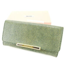 miumiu Wallet Purse Long Wallet Beige Green Woman Authentic Used L1773