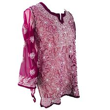 NEW Women's Top Ladies Tunic Hand Embroidered Chikan Casual Lady's Kurti