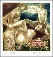 David Bekker 1997 Exlibris C4 Erotic Erotik Nude Nudo Woman Flowers Blumen 614