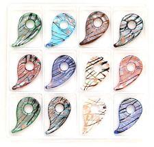 Lot of 2 Fashion Murano Lampwork Glass Magatama Shape Pendant (Send Randomly)