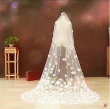 Gorgeous Bride White 3 Meters Long Cathedral Lace Purfle Bridal Wedding Veil