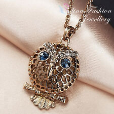 Titanium Plated Simulated Crystal Hollow-out Vintage Blue Eye Owl Long Necklace