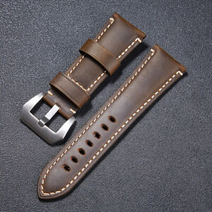 Watch Band Crazy Horse Cowhide Genuine Leather Watch Strap Belt  22-26mm Brown
