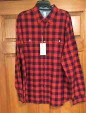 Ocean & Coast Mens Long Sleeve Button Down Shirt Size XL Rust/Navy NWT $55