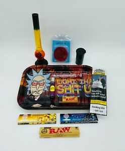 Rick and Morty Smoke Arsenal Rolling Tray Gift set Bong Grinder RAW Clipper New