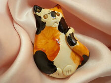 Ooak Artisan Crafted Vintage 80's Fat Calico Cat Brooch 78M5