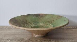 Signed Vintage Mid Century Modern Display Bowl Green Studio Pottery Earthenware