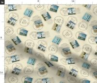 Stamps Retro Postcard Style Outer Banks Cape Fabric Printed by Spoonflower BTY
