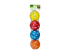 4 Pack Large Hollow Plastic Colored Air Flow Pet Play Balls Dog Cat Puppy Toy