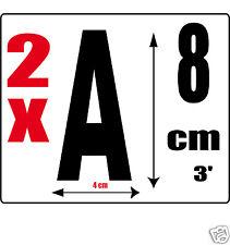 lot 2 lettres [A] Sticker autocollant noir hauteur 8cm Lettre adhésive en vinyle