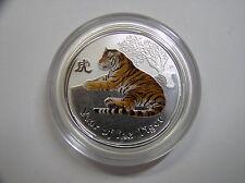 """Australien , 0,5 Dollar 2010 ST, Lunar II  """" Jahr des Tigers """", Silber mit Farbe"""