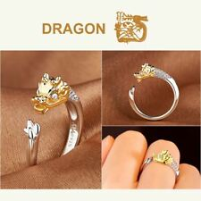 *UK* 925 Silver Plt Chinese Lunar New Year Of The Dragon Adjustable Ring
