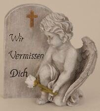 Engel neben Spruchstein 20 cm Grabschmuck Grabdeko Grabstein Gedenkstein Angel