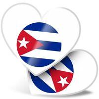 2 x Heart Stickers 7.5 cm - Cool Cuba Caribbean Havana  #9159