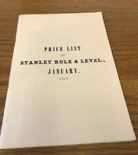 Reprint of January 1867 Stanley Rule & Level Price List Woodworking Tools Works