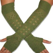 """Silk Cashmere knit Fingerless Fashion warm Gloves Olive 16"""" long OneSize Unisex"""