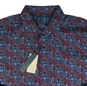 Men's PERRY ELLIS Red Blue Black Circles Shirt 2XB 2XL 2X BIG NWT NEW Stretch