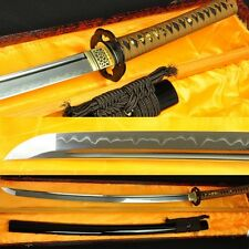 1095 STEEL CALY TEMPERED FULL TANG BLADE JAPANESE SAMURAI SWORD KATANA VERY SHAR