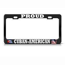 AMERICAN CUBAN FLAGS Metal BLACK License Plate Frame CUBA FLAG PRIDE SUV Auto Ta