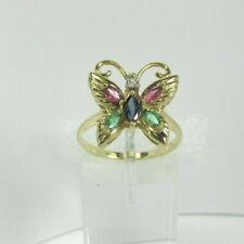 Estate 10K YG .10 CTW Emerald .10CTW Ruby Diamond Butterfly Ring 2.7 Gram Size 7