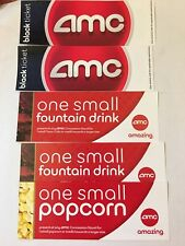 AMC 2 Movie Tickets with Two small drink/One popcorn coupons Never EXPIRATION!