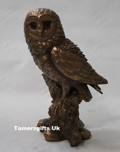 Cold Cast Bronze Barn Owl Statue Ornament Very Detailed 28622