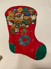 """* Vintage HUG ME Teddy Bears & Toys Christmas Stocking 18"""""""