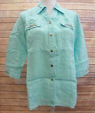 JM Collection Petite 3/4 Sleeve Linen Button Front Shirt Seafoam 10P HM826
