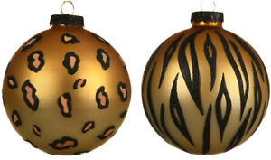Set Of 6 Animal Print Christmas Tree Baubles 8cms Glass Decorations 2 Assorted