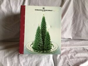 INTERNATIONAL SILVER CO Pine Tree Candles Scented & Silver Christmas Plate NIB