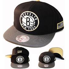 Mitchell & Ness NBA Brooklyn Nets Snapback Hat Black Grey metallic Gold Tip Cap