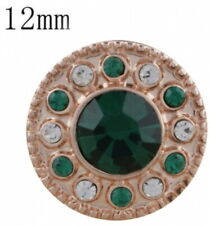 Rose Gold Green White 12mm Mini Petite Snap Charm Button for Ginger Snaps