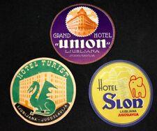 Slovenia Yugoslavia Luggage Labels Hotel Bled Bohinj Ljubljana Rogaska Portoroz