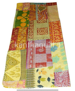 Indian Patchwork Queen Kantha Handmade Quilt Cotton Bed Cover Throw